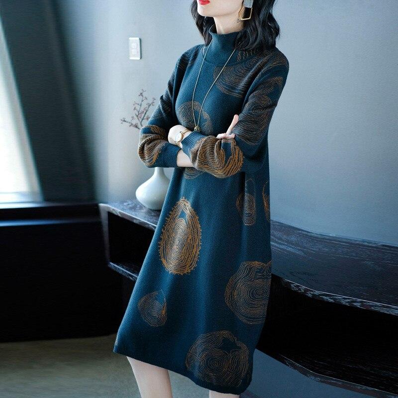 2019 nouveau automne hiver tricot robe femmes longue section col roulé femme à manches longues Bottoming laine pull robe X116 - 3