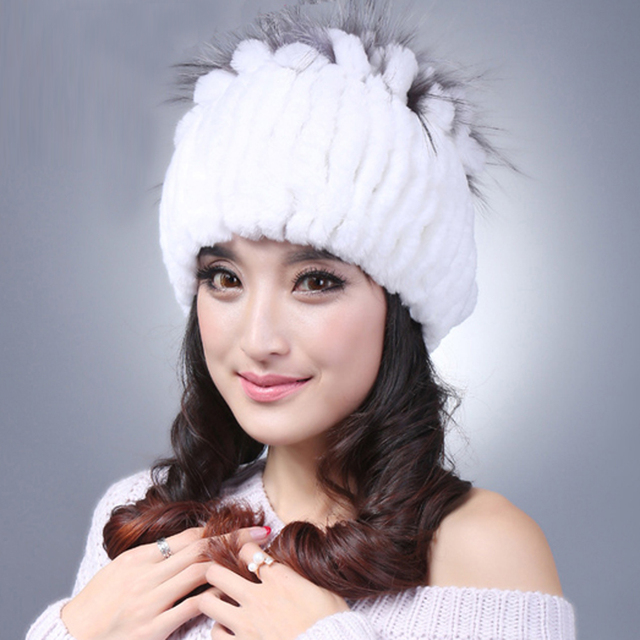 Hot Sale Women Beanie Winter Handmade Stripes Rex Rabbit Fur Hat Women Fur Hats Warm Soft Free Shipping