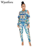 Wjustforu New Fashion Floral Casual Two Piece Set Women Off Shoulder Ruffles Sexy Tracksuit Long Sleeve Elegant Two Piece Set