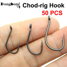 50PCS Teflon Coating Carp Fishing Hook Chod-Rig Hook Kaptor Choddy Carbon Steel Black Micro Bared with Outturned Eye Carp Hook bared blade