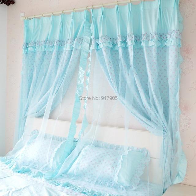Elegant Blue Lace Curtains Modern Living Room Drapes Romantic Pink Rose Girls Princess Window