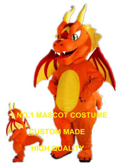 Fiery Dragon Mascot Costume adult size new custom orange fire dragon dino dinosaur theme anime cosplay