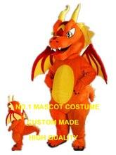 Огненный Дракон Маскоты костюм Взрослый размер новый пользовательский Orange Огненный Дракон Дино Динозавр Тему аниме маскарадные костюмы Карнавал 2978