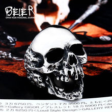 Beier new store 316L Stainless Steel ring high quality skull punk Biker ring for men fashion jewelry LLBR8-382R(China)