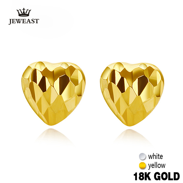 18k Pure Gold Earring White Rose Yellow Heart Fine Clic Jewelry Women Mother Gift Trendy