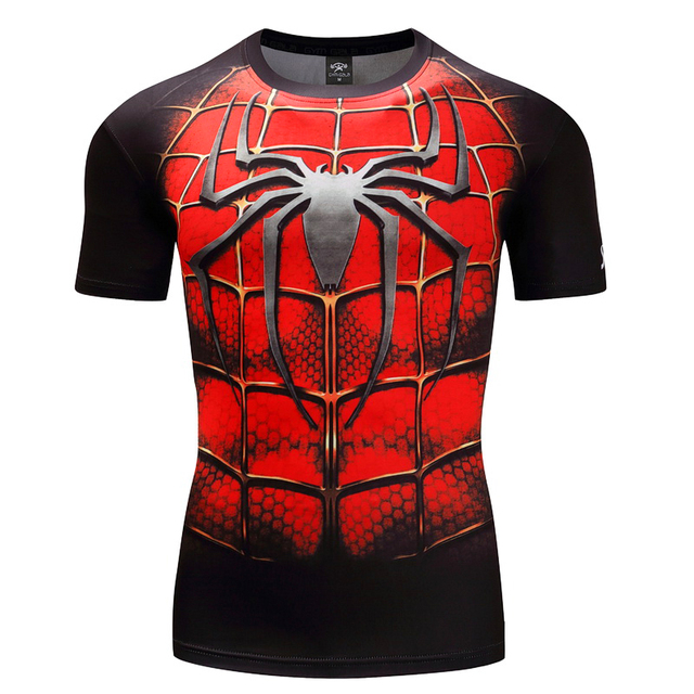 2018 Spiderman & Batman 3D Printed T-shirt Men Summer Compression Men's Shirt Character Comics  Tops & Tees Big Size S~4XL