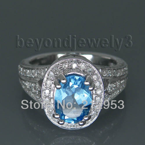Vintage  Oval 6x8mm 14k White Gold  Blue Topaz Wedding Ring SR79Vintage  Oval 6x8mm 14k White Gold  Blue Topaz Wedding Ring SR79