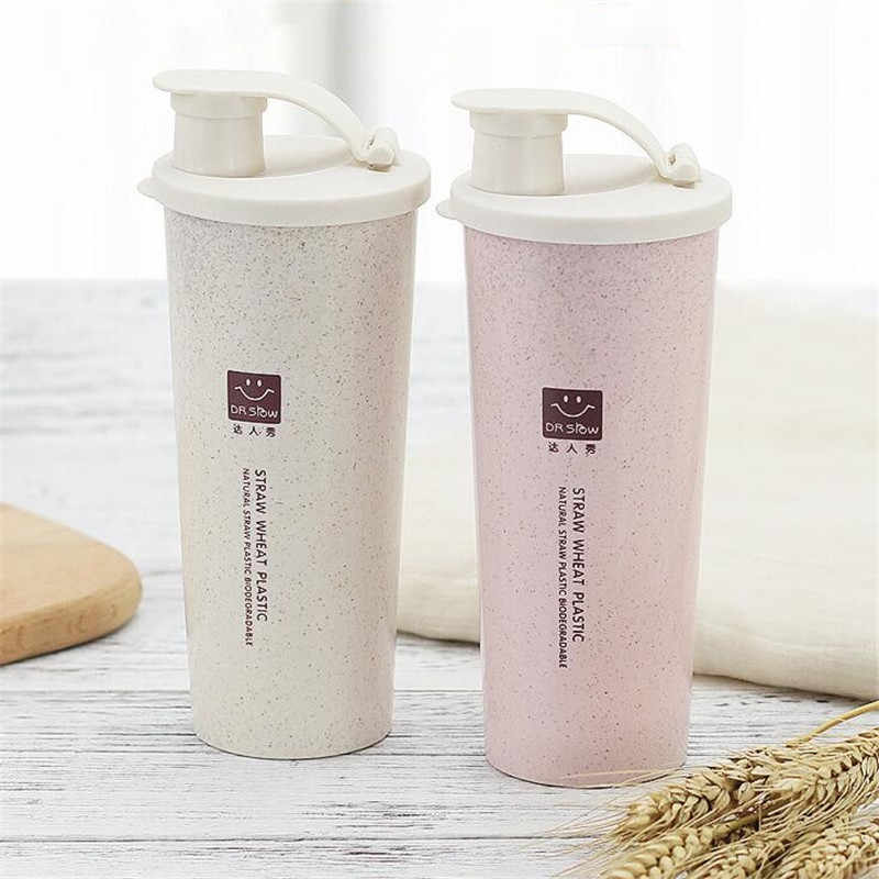 2d061f7265e ... HOMETREE 450ml My Water Cup Cola Coffee Mugs Wheat Straw Plastic  Healthy Drink Bottle Lid Daily