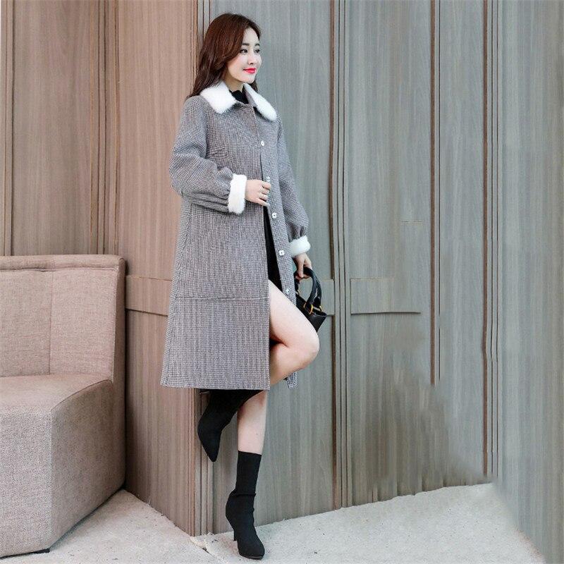 Manteaux Grid Survêtement Tops Laine Gray Mode De Treillis 2018 Xy640 D'hiver Chaud Longue En Manteau Vrac Femmes Nouvelles Casaco Feminino CBxqOAH4