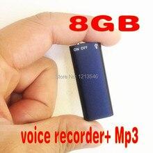 Nueva llegada! El peso más ligero y más pequeño, 2 en 1 Mini 8 GB 8G de Audio Digital Grabadora de Voz 13 Horas + Mp3 Envío Gratis