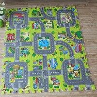Bé Giao Thông Route Puzzle Chơi Mat Trẻ Em Giáo Dục Chia Phần EVA Bọt Bò Pad Trò Chơi Carpet Kids Đồ Chơi Quà Tặng Thảm Playmat