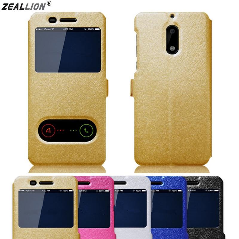 ZEALLION For Nokia 8 6 2018 7 Plus Luxury Silk Skin Window Flip Stand PU Leather Cover Phone Case nokia 8 new 2018