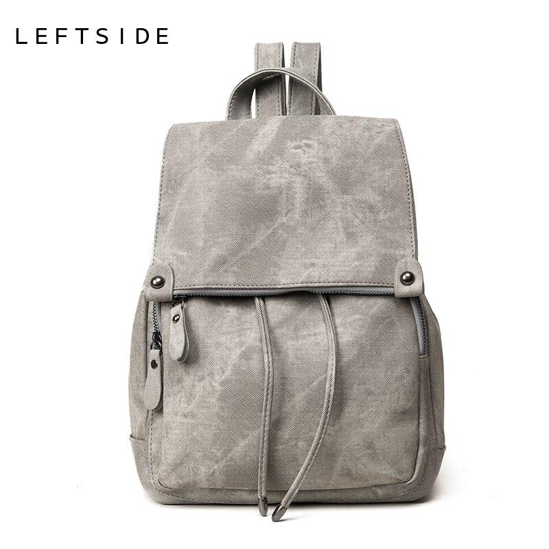 2311c7b2641c LEFTSIDE 2017 школьные рюкзаки Новые корейские рюкзаки модные джинсовые женские  рюкзаки милые девочки мальчики сумки для