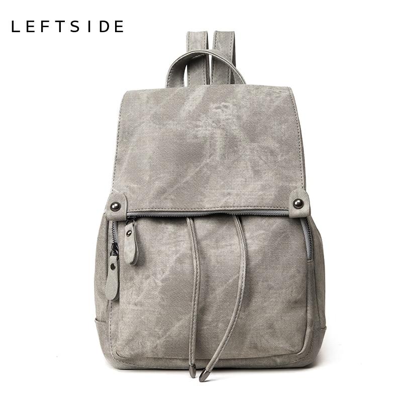 LEFTSIDE 2017 school back <font><b>packs</b></font> New Korean Backpacks Fashion denim Women Backpack cute Girls boys Bags for school Travel bags