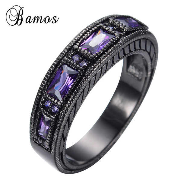 FemaleMale Elegant Purple Ring Black Gold Filled Jewelry Vintage Wedding Engagement Rings For Men And Women Bijoux RB0097