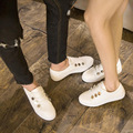 2017 women flats rivets couples white round flats casual Flats Boat Shoes Sexy Ladies Plus Size size 41 42 43