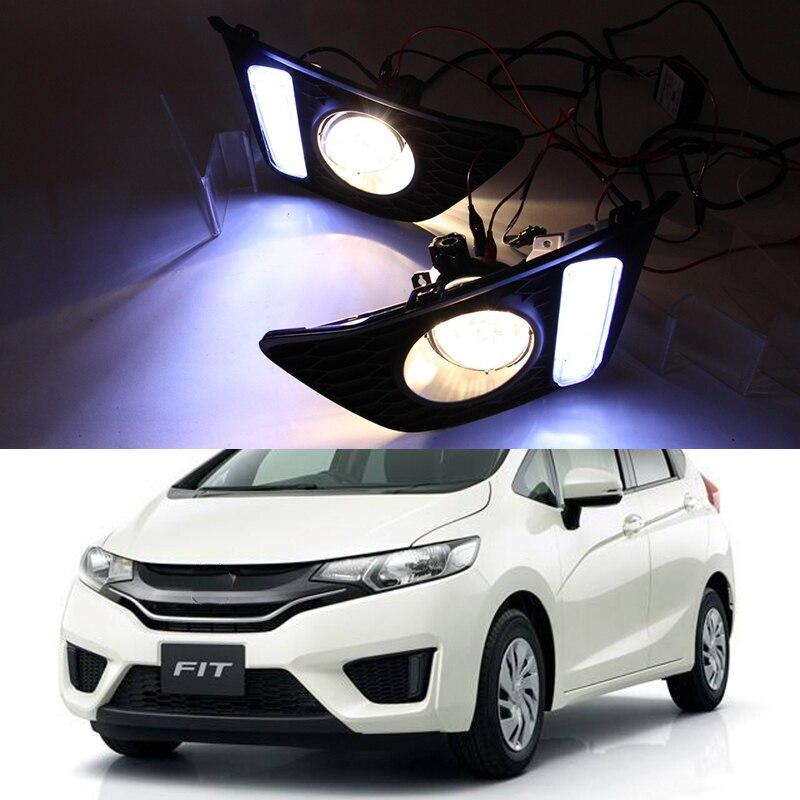 Car Flashing Fog light For Honda jazz fit 2014 2015 2016 Bumper Fog Lights Driving Lamps