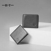 HT Prawdziwy Skórzany Portfel Mężczyzn Portfele Portmonetki Krótki Notecase Black Magic Mężczyzna ID Posiadacze Kart Styl Vintage Carteria Pouch