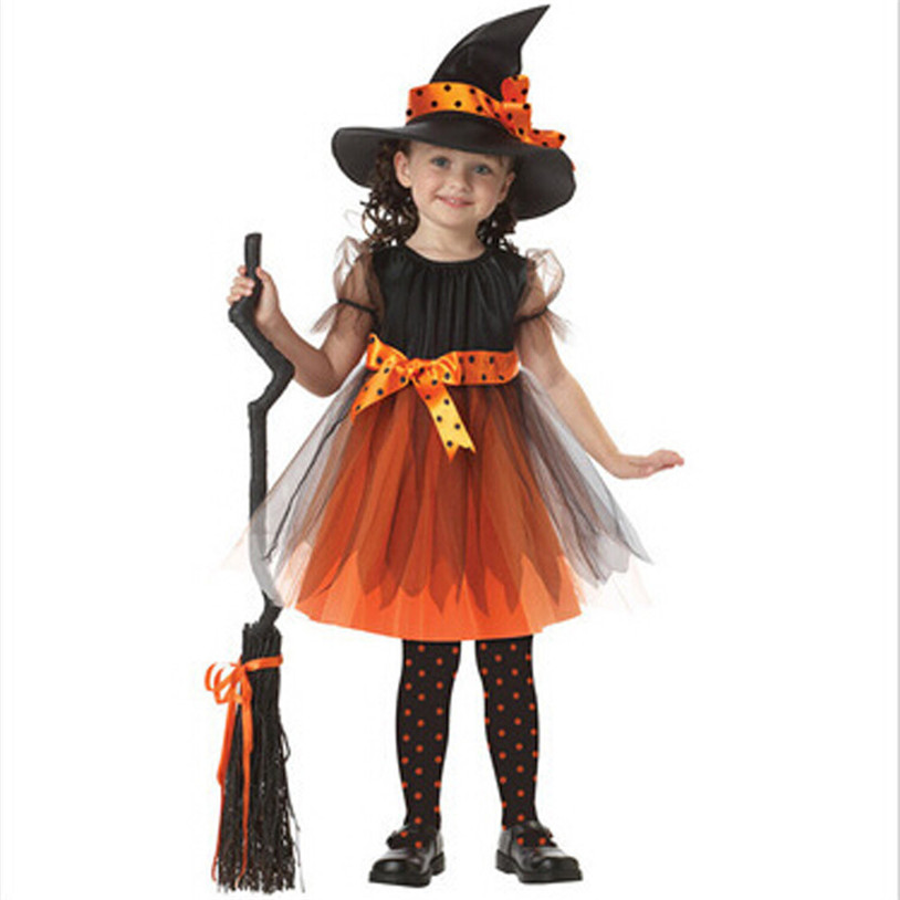 Children Toddler Kids Baby Girls Halloween Clothes Costume Dress Party Dresses+Hat Outfit 2017 New Arrival Hot Fashion 30