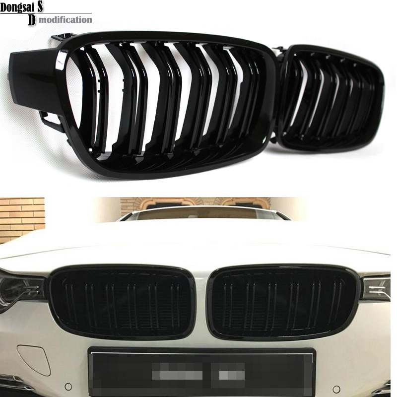 1 Pair F30 Car Styling Grill M3 Style F31 Kidney Black Replacement Grille For BMW F30 F31 2012+ 320i 325i 328i 335i Gloss Black 1 pair gloss black front kidney grilles grill car styling racing grills replacement grilles for bmw f30 f31 f35 320i 2012