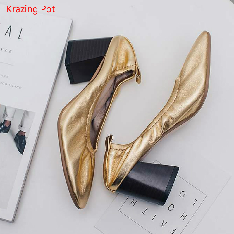 ФОТО Fashion Shallow Round Toe Genuine Leather Thick High Heels Women Pumps Simple Style Party Grandma Shoes Glove Lazy Driving Shoes
