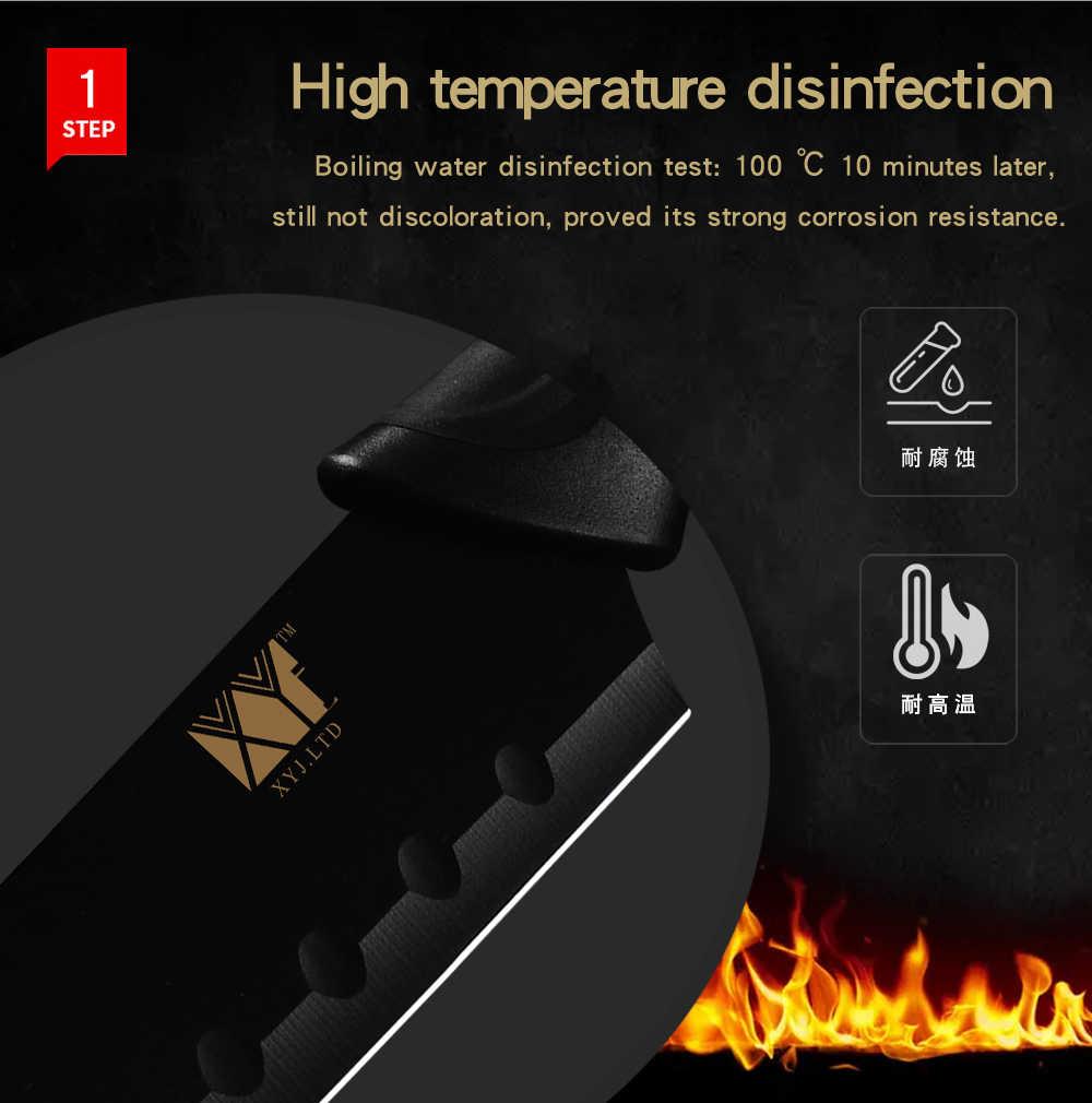 Cuchillo de cocina de acero inoxidable XYj, superventas, 7Cr17, hoja afilada colorida, mango cómodo, herramienta de cocina, afilador de barras, soporte para cuchillos