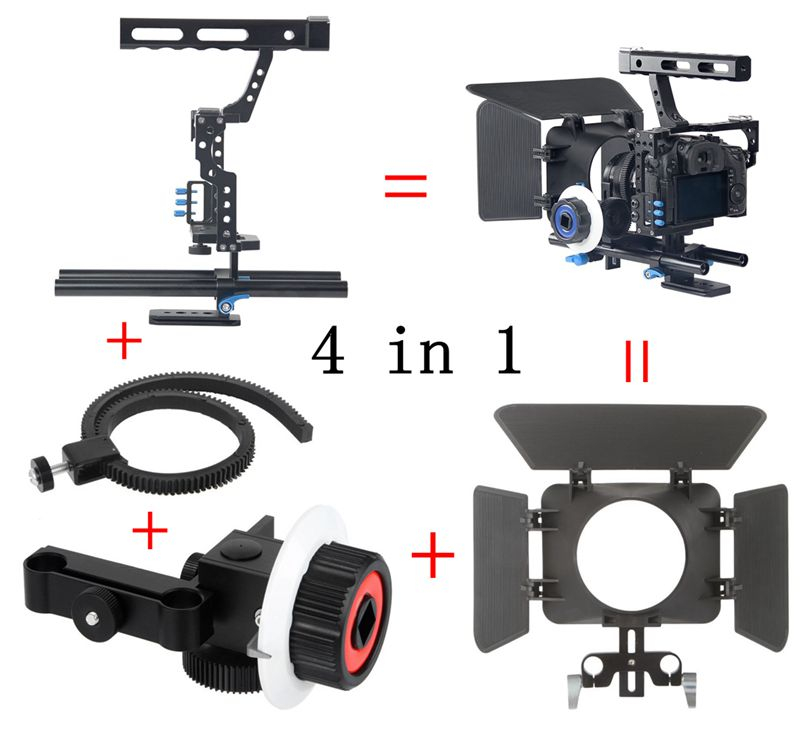 DSLR Video Film Stabilizer Kit 15mm Rod Rig Camera Cage+Handle Grip+Follow Focus+Matte Box for for Sony A7 II A6300 /GH4 A6500