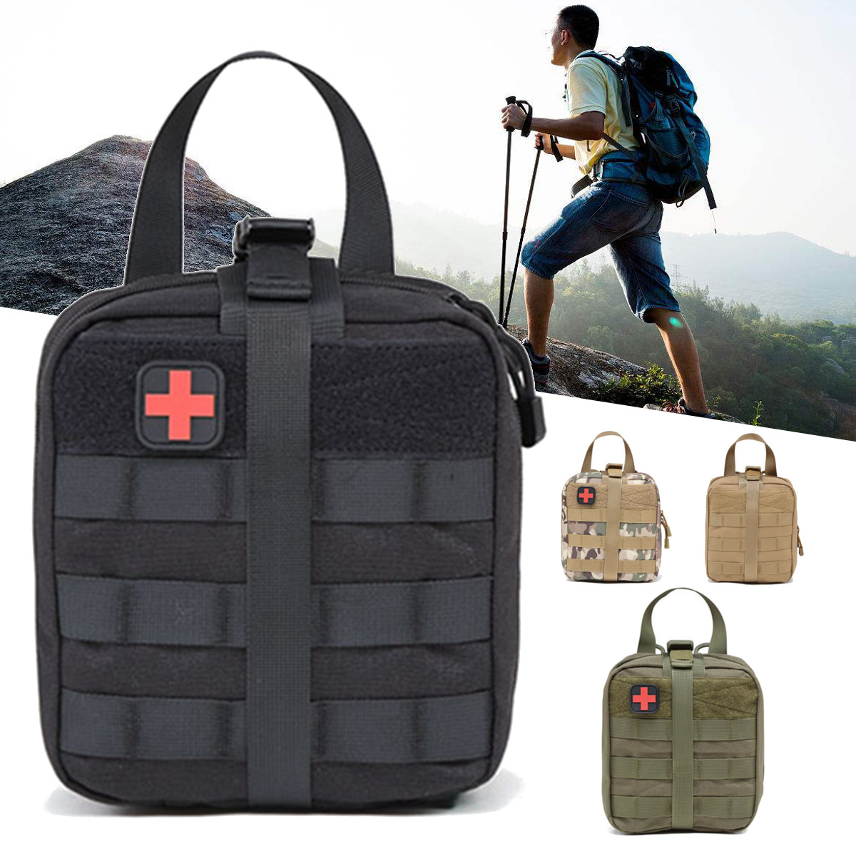 Tactical First Aid Kit Pouch Survival Medical Bag Portable Pouch Emergency Outdoor Travel Mountaineering Climbing Lifesaving Bag