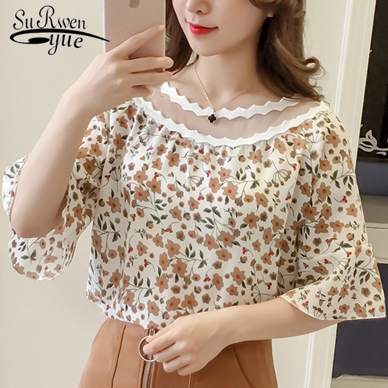 2018 fashion print chiffon women blouse shirt flare sleeve summer women tops blusas plus size hollow womens clothing 0056 30