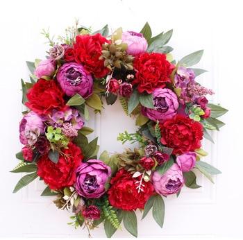19inch American simulation Christmas peony  wreath Wall hanging Garland Front Door Wreath Housewarming Wedding decoration Gifts