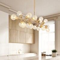Современные золото Гостиная Спальня минималистский Ресторан подвеска свет Nordic украшения Стекло шар подвесной светильник
