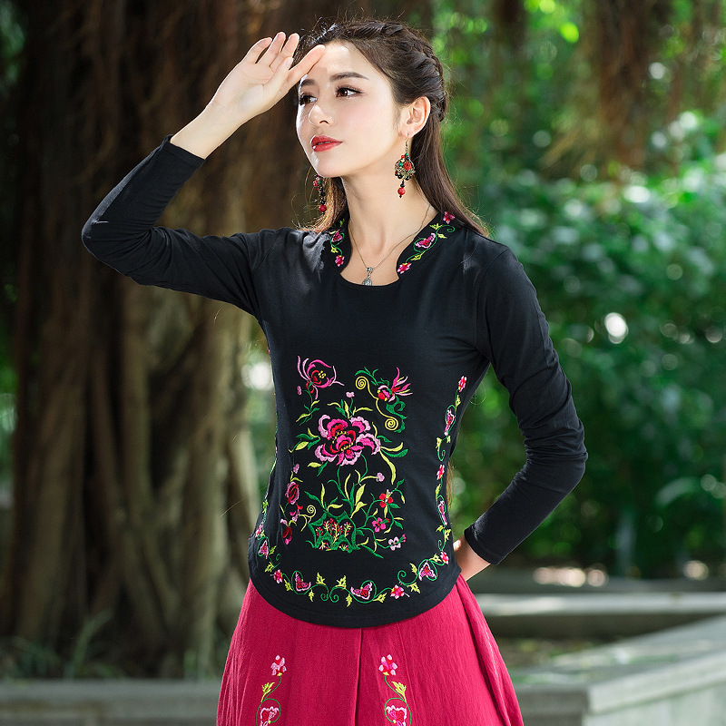 Lady Long Sleeve New Tee Solid Color 2016 Autumn Casual T Shirt Embroidery Cotton Arc Shits