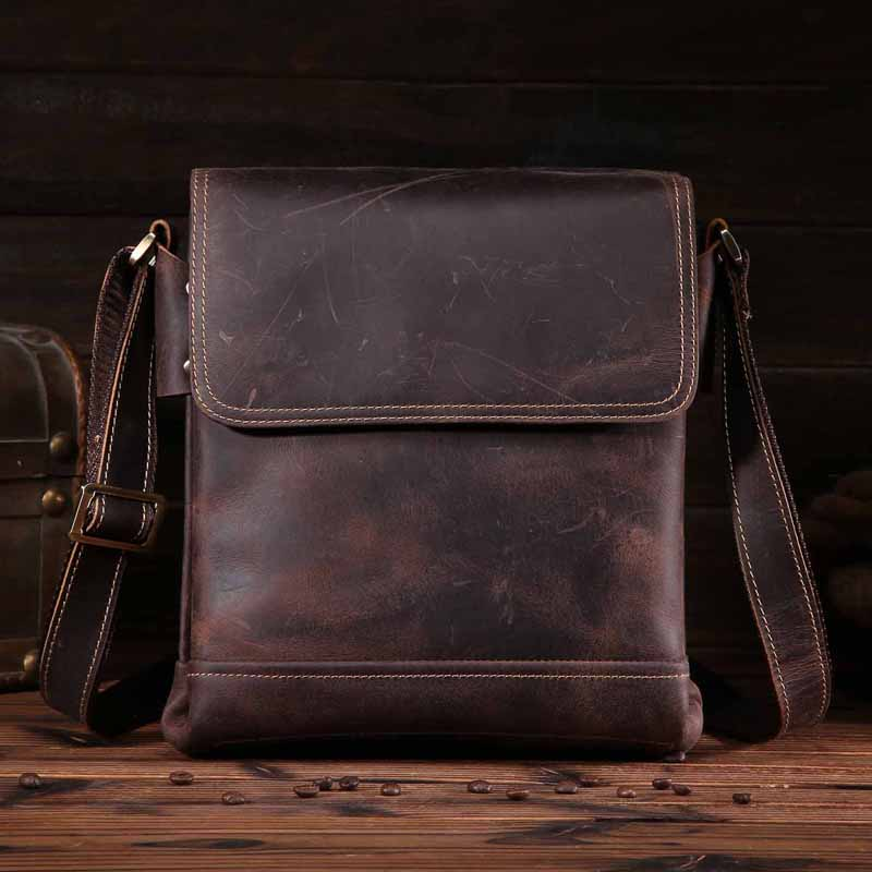 ФОТО NEWEEKEND Crazy Horse Genuine Leather Bag Mens Shoulder Bags Messenger Casual Men's Crossbody Bags For iPads Case 9065