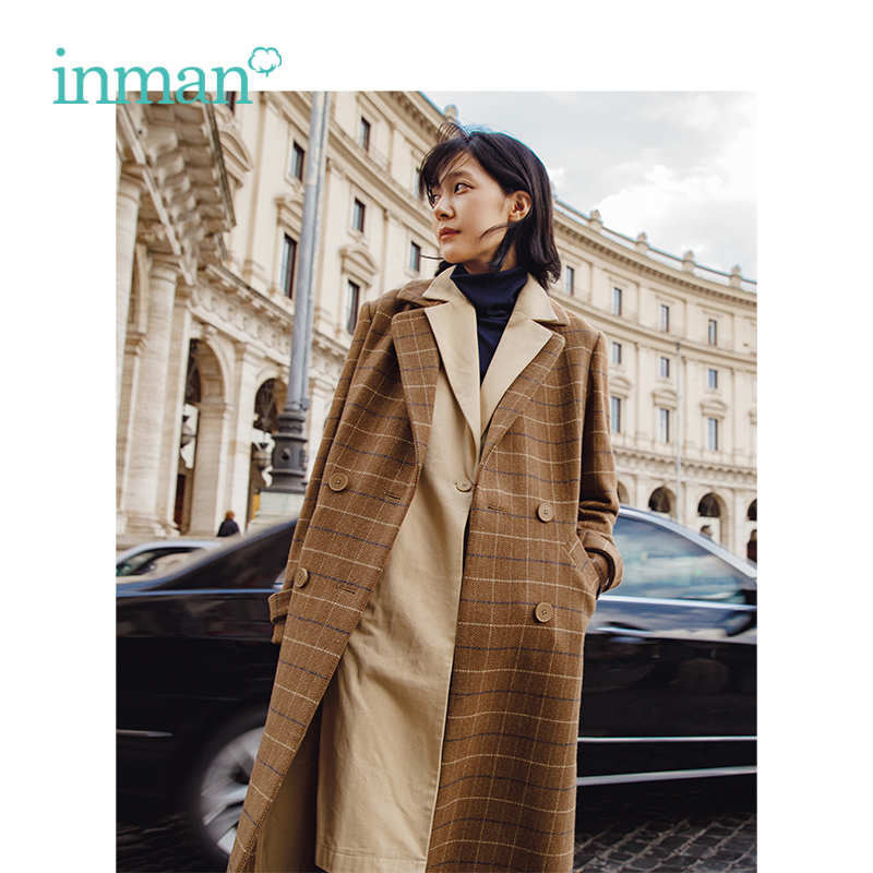 INMAN Autumn Turn Down Collar Plaid Pattern Double Breast Elegant Long Loose Style Women Fashion Wool