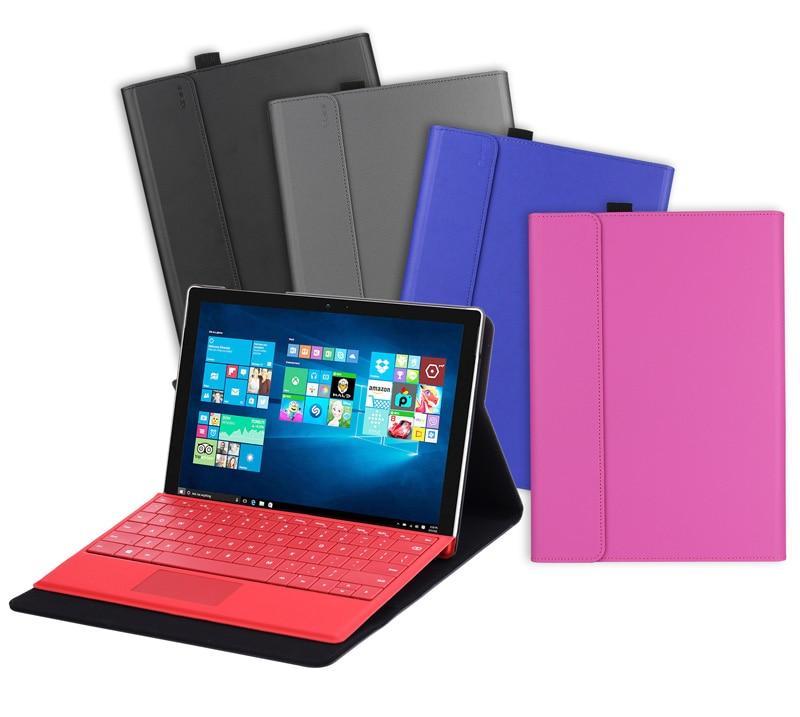 все цены на  Premium PU leather folio sleeve stand Flip cover case with stylus holder for Microsoft surface Pro 4 12inch windows tablet skin  онлайн