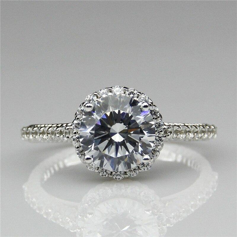 Round 2ct Lab Created Diamond Vintage Filigree 9k White Gold Engagement Ring Halo Esdomera Moissanites Antique Wedding Ring