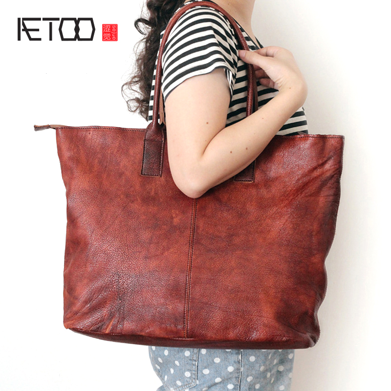 AETOO Original new leather handbags handbag retro large-capacity washed wipe handbag