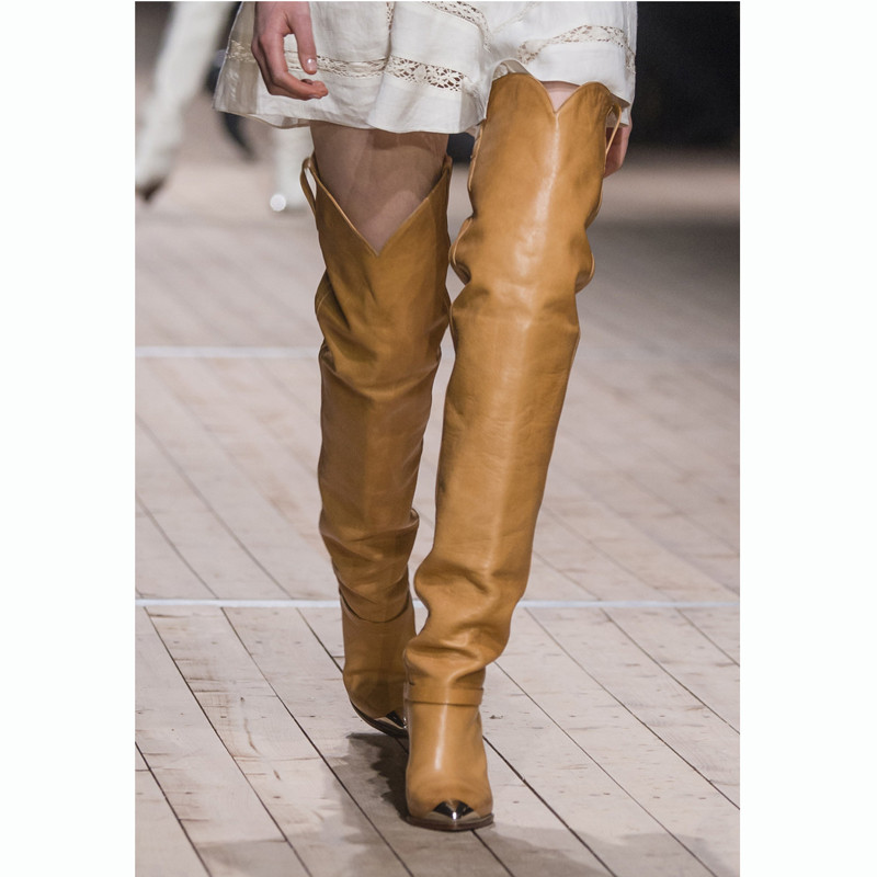 Fashion Spiked Yellow Over The Knee Boots Femme Brand Design Runway High Heels Catwalk Shoes Women White Slouch Thigh High BootsFashion Spiked Yellow Over The Knee Boots Femme Brand Design Runway High Heels Catwalk Shoes Women White Slouch Thigh High Boots