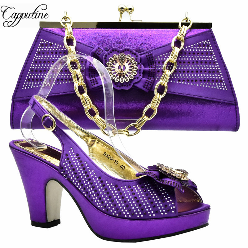 Capputine Purple Color African Woman Shoes And Bag Set Decorated With Rhinestone Nigerian Party Shoes And Bag Set DF-011 doershow african women talian shoes and bag set ladies italian shoe and bag set decorated with rhinestone nigerian party bb1 1