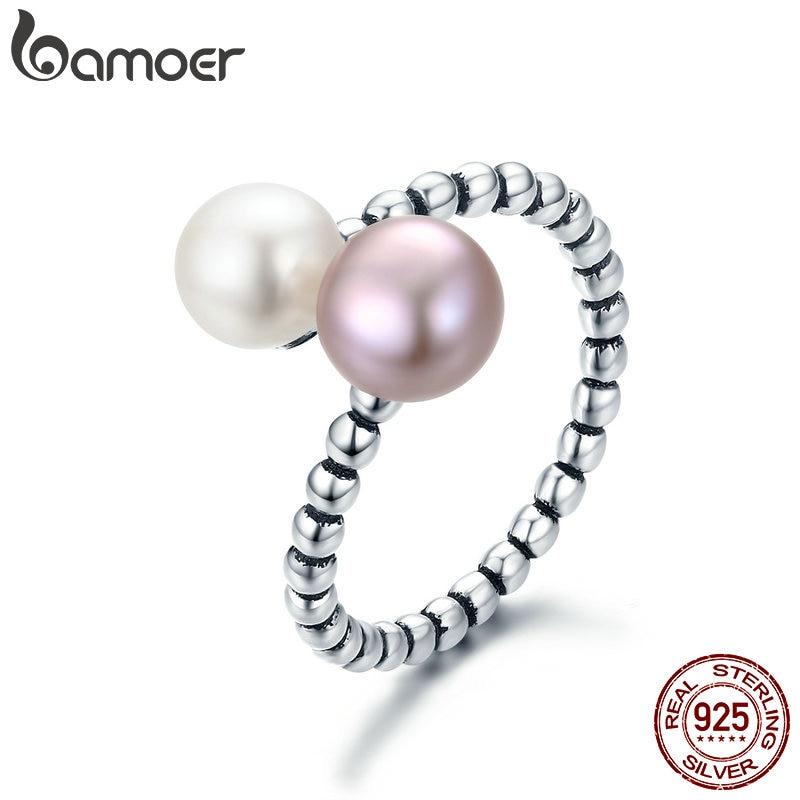 BAMOER 2018 nueva plata de ley 925 perlas de agua dulce mujer anillos para las mujeres joyería de compromiso anillo ajustable S925 SCR235