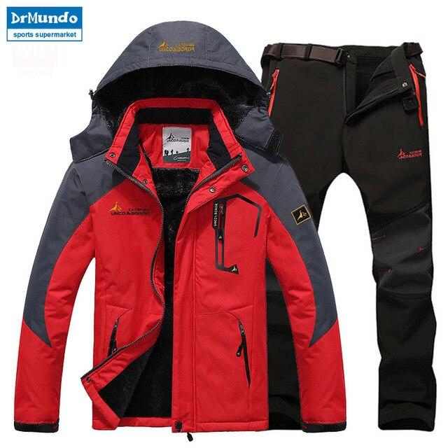 805c2b6412 Ski Jacket suits Men Waterproof Fleece Snow Jacket Thermal Coat Outdoor  Mountain Skiing Snowboard Jacket suits Plus Size Brand