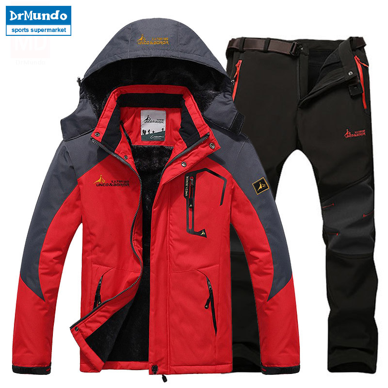 Ski Jacket suits Men Waterproof Fleece Snow Jacket Thermal Coat Outdoor Mountain Skiing Snowboard Jacket suits Plus Size Brand