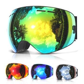 цена на COPOZZ brand professional ski goggles double layers lens anti-fog UV400 big ski glasses skiing snowboard men women snow goggles
