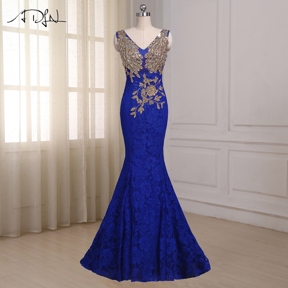 ADLN Royal Blue Mermaid Evening Dress  Cap Sleeve Floor Length Custom Long Formal Party Prom Dresses Robe De Soiree