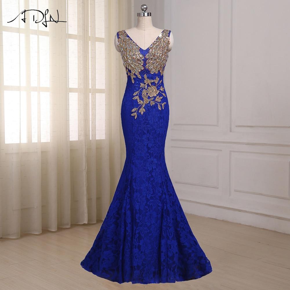 ADLN Royal Blue Mermaid Robe De Soirée De Robe De Manche De Plancher De Longueur Personnalisé Long Formel Party Robes De Bal Robe De Soirée