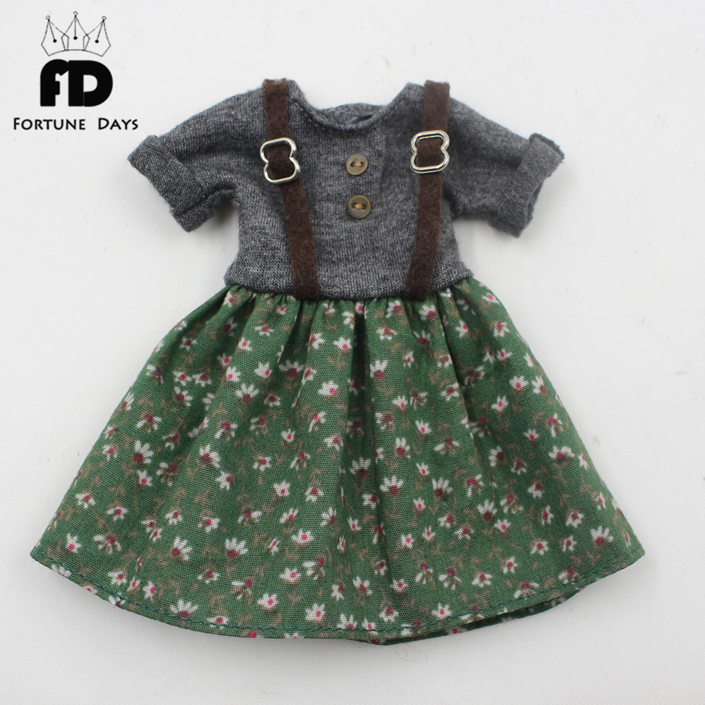 Free shipping green dress gray dress suspender skirt with Button suitable blyth doll цена и фото