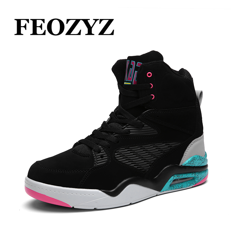 FEOZYZ Size 39-47 Men High Top Basketball Shoes Air Cushion Winter Sneakers Zapatillas De Basquet Basket Homme Sport Shoes original li ning men professional basketball shoes