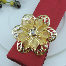 12PCS alloy napkin ring hollow flower household items