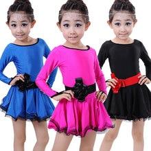 5pcs/lot Free Shipping Long Sleeves Children Dancing Dresses Salsa Kids Girls Latin Ballroom Practice Clothes Dance Costumes