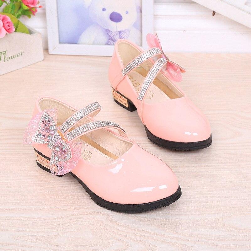 2016 봄 새로운 특허 가죽 여자 신발 방수, 크리스탈 보우 여름 드레스 공주 신발 플랫 논 스 립, 크기 26-36,3 색